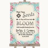 Vintage Shabby Chic Rose Plant Seeds Favours Customised Wedding Sign