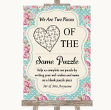 Vintage Shabby Chic Rose Puzzle Piece Guest Book Customised Wedding Sign