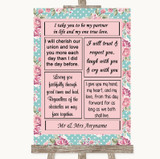 Vintage Shabby Chic Rose Romantic Vows Customised Wedding Sign