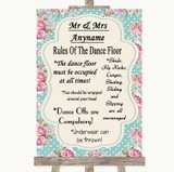 Vintage Shabby Chic Rose Rules Of The Dancefloor Customised Wedding Sign