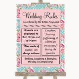 Vintage Shabby Chic Rose Rules Of The Wedding Customised Wedding Sign