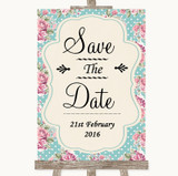 Vintage Shabby Chic Rose Save The Date Customised Wedding Sign
