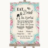 Vintage Shabby Chic Rose Signature Favourite Drinks Customised Wedding Sign
