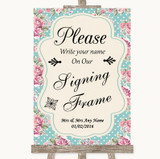 Vintage Shabby Chic Rose Signing Frame Guestbook Customised Wedding Sign