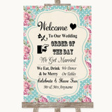 Vintage Shabby Chic Rose Welcome Order Of The Day Customised Wedding Sign
