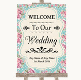 Vintage Shabby Chic Rose Welcome To Our Wedding Customised Wedding Sign