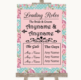 Vintage Shabby Chic Rose Who's Who Leading Roles Customised Wedding Sign