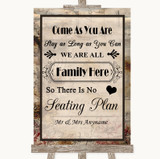 Vintage All Family No Seating Plan Customised Wedding Sign