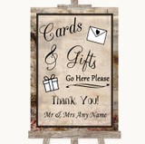 Vintage Cards & Gifts Table Customised Wedding Sign