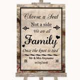 Vintage Choose A Seat We Are All Family Customised Wedding Sign