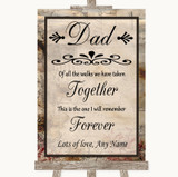 Vintage Dad Walk Down The Aisle Customised Wedding Sign