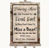 Vintage Dancing Shoes Flip-Flop Tired Feet Customised Wedding Sign