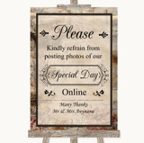 Vintage Don't Post Photos Online Social Media Customised Wedding Sign