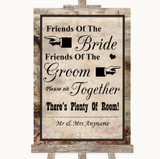 Vintage Friends Of The Bride Groom Seating Customised Wedding Sign