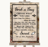 Vintage Grab A Bag Candy Buffet Cart Sweets Customised Wedding Sign