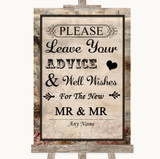 Vintage Guestbook Advice & Wishes Gay Customised Wedding Sign