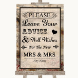 Vintage Guestbook Advice & Wishes Lesbian Customised Wedding Sign