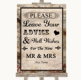 Vintage Guestbook Advice & Wishes Mr & Mrs Customised Wedding Sign
