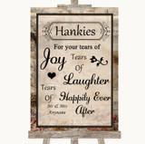 Vintage Hankies And Tissues Customised Wedding Sign