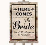 Vintage Here Comes Bride Aisle Sign Customised Wedding Sign