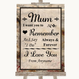 Vintage I Love You Message For Mum Customised Wedding Sign