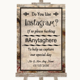 Vintage Instagram Photo Sharing Customised Wedding Sign