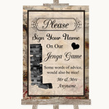 Vintage Jenga Guest Book Customised Wedding Sign