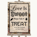 Vintage Love Is Sweet Take A Treat Candy Buffet Customised Wedding Sign