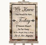 Vintage Loved Ones In Heaven Customised Wedding Sign