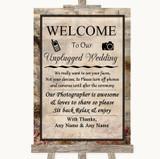Vintage No Phone Camera Unplugged Customised Wedding Sign