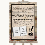 Vintage Photo Guestbook Friends & Family Customised Wedding Sign