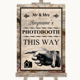 Vintage Photobooth This Way Left Customised Wedding Sign