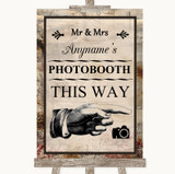 Vintage Photobooth This Way Right Customised Wedding Sign