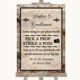 Vintage Pick A Prop Photobooth Customised Wedding Sign