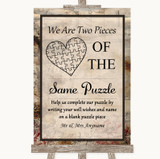 Vintage Puzzle Piece Guest Book Customised Wedding Sign