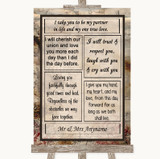 Vintage Romantic Vows Customised Wedding Sign