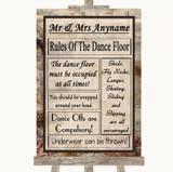 Vintage Rules Of The Dancefloor Customised Wedding Sign