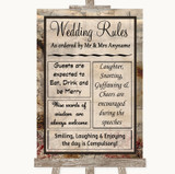 Vintage Rules Of The Wedding Customised Wedding Sign