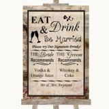 Vintage Signature Favourite Drinks Customised Wedding Sign
