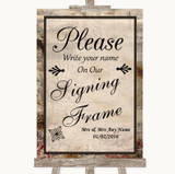 Vintage Signing Frame Guestbook Customised Wedding Sign