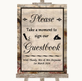 Vintage Take A Moment To Sign Our Guest Book Customised Wedding Sign