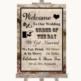 Vintage Welcome Order Of The Day Customised Wedding Sign