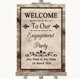 Vintage Welcome To Our Engagement Party Customised Wedding Sign
