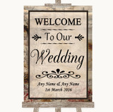 Vintage Welcome To Our Wedding Customised Wedding Sign