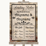 Vintage Who's Who Leading Roles Customised Wedding Sign