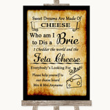 Western Cheese Board Song Customised Wedding Sign