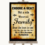 Western Choose A Seat We Are All Family Customised Wedding Sign