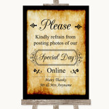 Western Don't Post Photos Online Social Media Customised Wedding Sign