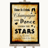 Western Drink Champagne Dance Stars Customised Wedding Sign