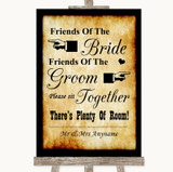 Western Friends Of The Bride Groom Seating Customised Wedding Sign